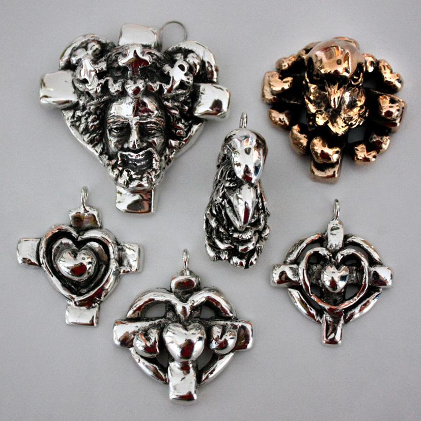 Sølvsmykker samlet oppefra